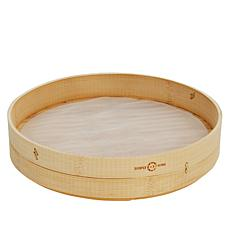 """As Is"" Simply Ming Blue Diamond Bamboo Steamer with Mesh Insert Set"