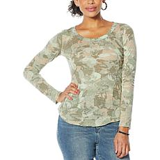 """As Is"" Skinnygirl Fierce Knit Long Sleeve Gauze Top"