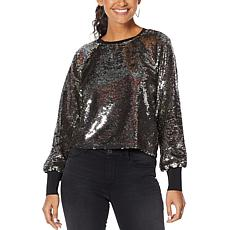 """As Is"" Skinnygirl Flip Sequin Top"