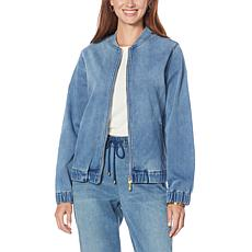 """As Is"" Skinnygirl Knit Denim Bomber Jacket"