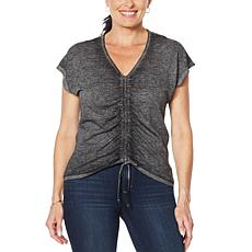 """As Is"" Skinnygirl Smallz Ruched Front Short-Sleeve Top"