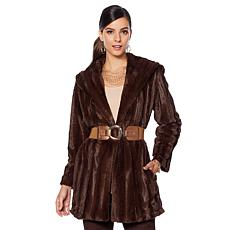 """As Is"" Slinky Brand Shawl-Collar Faux Fur Mink Long Glam Coat"