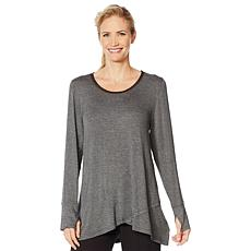 """""""As Is"""" Soft & Cozy Crossover Hem Tunic with Chiffon Detail"""