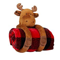 """As Is"" Soft & Cozy Huggable Animal Throw Gift Set"