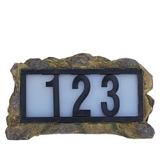 """As Is"" Solar Powered Illuminated LED House Number Rock Display"
