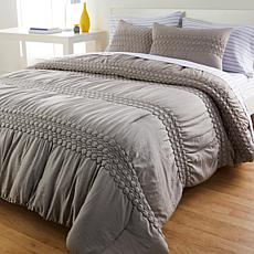 """As Is"" South Street Loft Ruched Rosette Comforter Set"