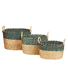 """As Is"" South Street Loft Set of 3 Water Hyacinth Baskets"