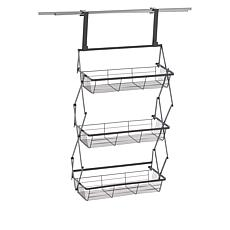 """As Is"" StoreSmith Over-the-Door Collapsible 3-Tier Baskets"