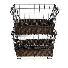 """As Is"" StoreSmith Set of 2 Stackable Market Baskets"