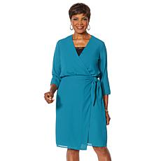 """As Is"" Vanessa Williams Essential V-Neck Side Tie Wrap Dress"