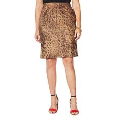 """As Is"" Vanessa Williams Faux Suede Animal-Print Pencil Skirt"