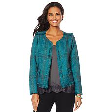"""""""As Is"""" Vanessa Williams Open-Front Tweed Jacket with Pockets"""