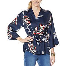 """As Is"" Vanessa Williams Printed Charmeuse Floral Kimono"