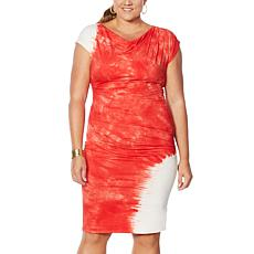 """As Is"" Vanessa Williams Tie Dye Side Ruched Dress"