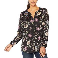 """""""As Is"""" Vince Camuto Floral Hammered Satin Split-Neck Tunic"""