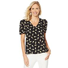 """As Is"" Vince Camuto Puff Shoulder V-Neck Blouse"