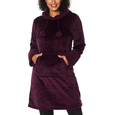 """As Is"" Warm & Cozy Hooded Comfort Tunic Robe with Kangaroo Pocket"