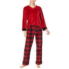 """As Is"" Warm & Cozy Plus V-Neck Pajama Set"