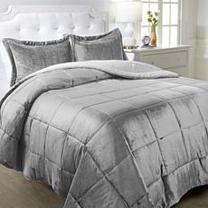"""As Is"" Warm & Cozy Plush Sherpa 3-piece Comforter Set"