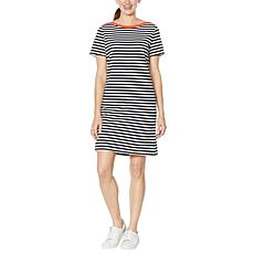 """""""As Is"""" WE by Living in Yellow Striped Short Dress with Contrast Trim"""
