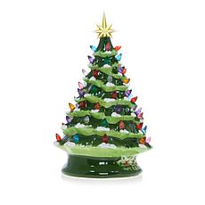 """""""As Is"""" Winter Lane 14"""" LED Lighted Ceramic Musical Christmas Tree"""