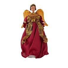 """As Is"" Winter Lane Angel in Burgundy Dress"