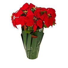 """""""As Is"""" Winter Lane Battery-Operated 18"""" Poinsettia with Lights and..."""