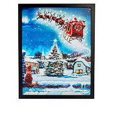 """As Is"" Winter Lane Santa and Cat Fiber-Optic Christmas Canvas Art"