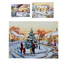 """As Is"" Winter Lane Set of 3 Fiber Optic Canvases"