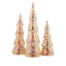 """As Is"" Winter Lane Set of 3 Lighted Glitter or Sequin Glass Christ..."