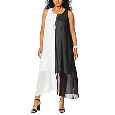 """As Is"" WynneLayers Chiffon Sleeveless Colorblocked Maxi Dress"