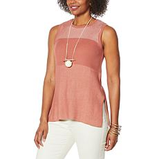 """As Is"" WynneLayers Colorblocked Sweater Tank"