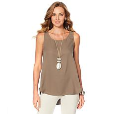 """""""As Is"""" WynneLayers Crepe Georgette Shirttail Tank"""