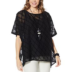 """As Is"" WynneLayers Diamond Jacquard Fringed Chiffon Poncho"