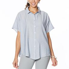 """As Is"" WynneLayers Extended Shoulder Crinkled Shirt"