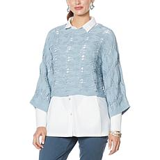 """""""As Is"""" WynneLayers Open Pointelle Stitch Cropped Popover Sweater"""