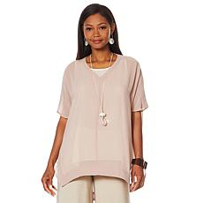 """As Is"" WynneLayers Sheer V-Neck Cocoon Tunic"