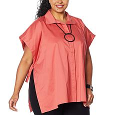 """As Is"" WynneLayers Stretch Poplin Button-Front Poncho Shirt"