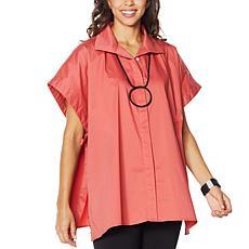 """As Is"" WynneLayers Stretch Poplin Button-Front Poncho Shirt"