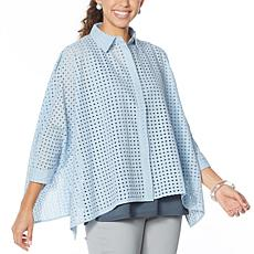"""""""As Is"""" WynneLayers Unconstructed Eyelet Shirt"""