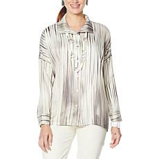 """""""As Is"""" WynneLayers Unstructured Button Front Satin Shirt"""