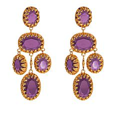 Asa Jewelry Purple Stone Goldtone Chandelier Earrings