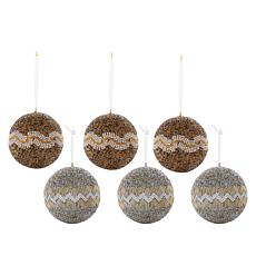 august & leo 6-pack Handmade Beaded Ornaments