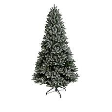 august & leo 7.5' Frasier Fir Flocked Pre-Lit Christmas Tree w/Remote