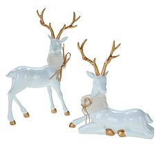 august & leo Reindeer with Faux Fur Collars 2-piece Set