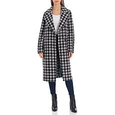 Avec Les Filles Houndstooth Double Face Wool Blend Coat - Black Grey