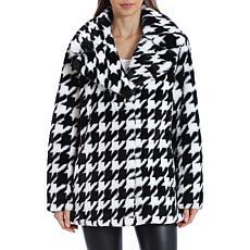 Avec Les Filles Houndstooth Faux Fur Coat - Black/White