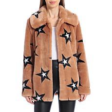 Avec Les Filles Star Print Faux Fur Coat - Camel Black