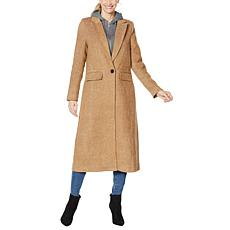 Avec Les Filles Wool-Blend Maxi Coat with Detachable Hood