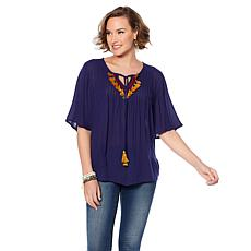 B Collection by Bobeau Boho Blouse with Tassel Trim - Plus